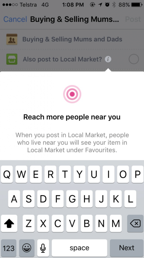 facebook local market