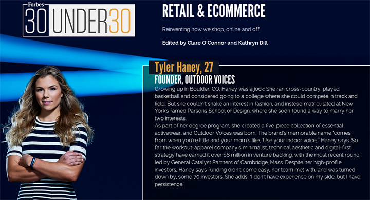 Tyler Haney 30 under 30 retail and eCommerce 2016 Forbes