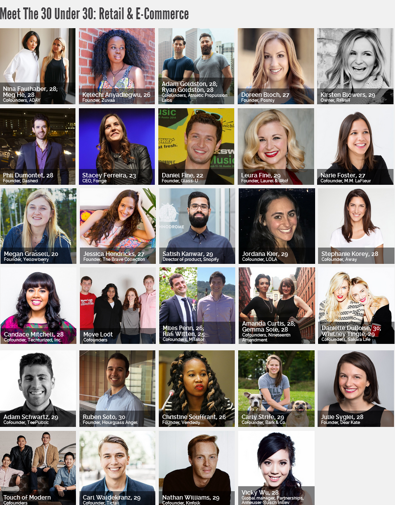 30 under 30 retail and eCommerce 2016 Forbes